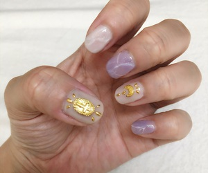 beige, gold, and nail image