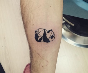 geometric, panda, and panda tattoo image