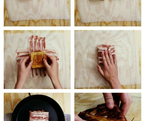 bacon, bread, and cheese image