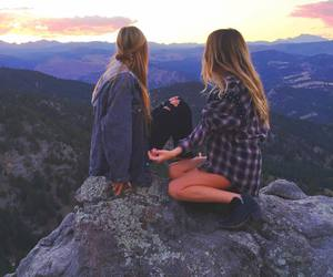girl, nature, and sunset image