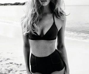 b&w, beach, and hair image