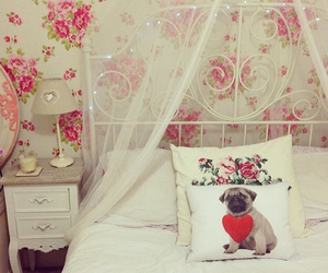 bed, bedroom, and pug image