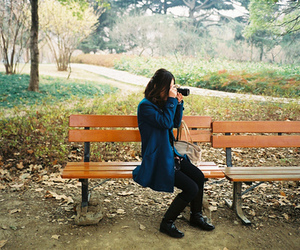 bench, girl, and inspired image