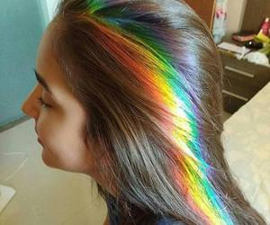 rainbow, hair, and girl image
