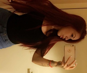 cute girl, red hair, and straight hair image