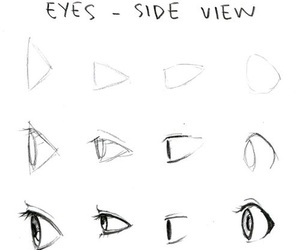 eyes, drawing, and side image