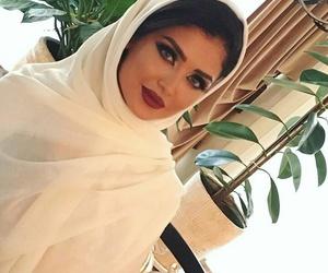 makeup, red lipstick, and hijab fashion image