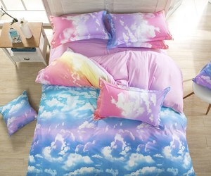 bedroom, bed, and sky image