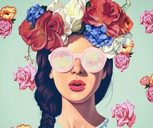 flowers, girl, and art image