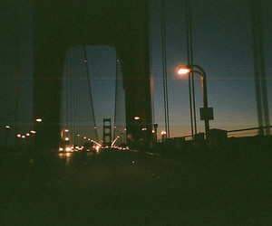 night, light, and bridge image