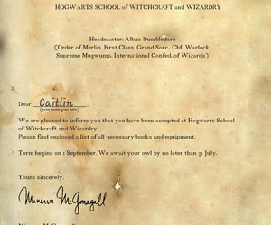 hogwarts, hp, and acceptance letter image
