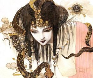 asian, witch, and snake image