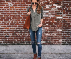 boot, brown boots, and green shirt image