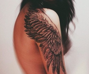 arm tattoo, wing tattoo, and shoulder tattoo image