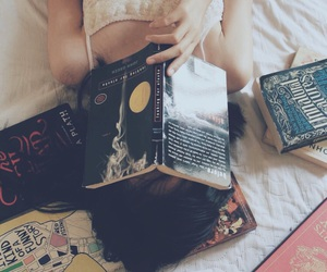books, lockscreen, and girl image