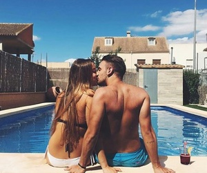 summer, couple, and kiss image