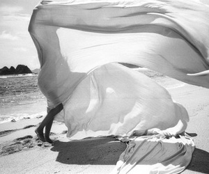 black and white, beach, and photography image