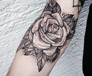 arm, rose, and Tattoos image