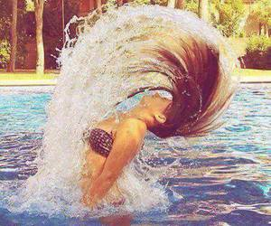 summer, hair, and water image