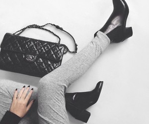 chanel, black, and boots image