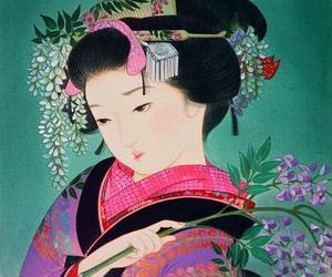 geisha, kimono, and japan image
