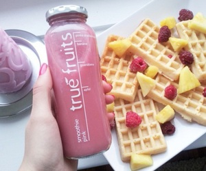 drink, waffles, and food image