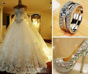 dress, wedding, and shoes image