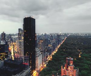 city, lights, and new york image