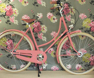 bycicle, girl, and girly image