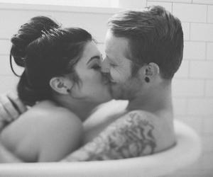 b&w, kiss, and love image
