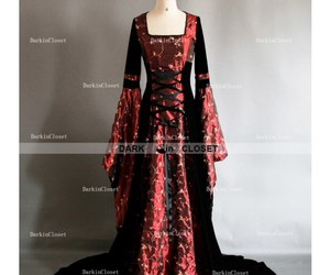 gothic dress, gothic medieval dress, and red gohic medieval dress image