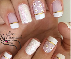 ongles, rose, and paillete image