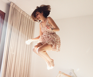 girl, jump, and dress image