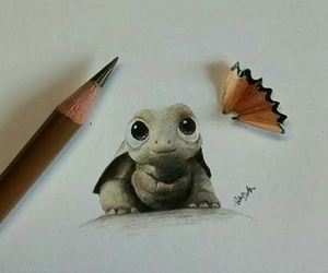 art, drawing, and turtle image
