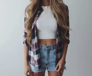fashion, white, and short jeans image