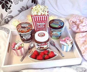food, nutella, and popcorn image