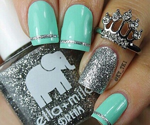 blue, sparkle, and nails image