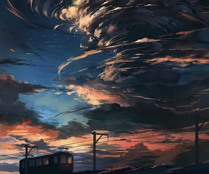 sky, art, and anime image