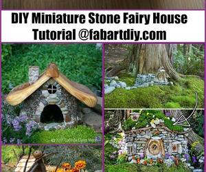 gardening, fairy garden diy ideas, and stone fairy house image