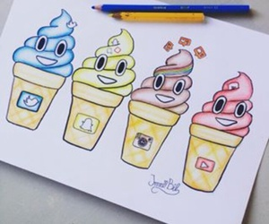 color, ice cream, and social media image