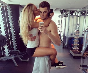 blonde, workout, and love image