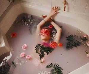 flowers, bath, and girl image