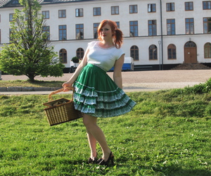 picnic, redhead, and skirt image