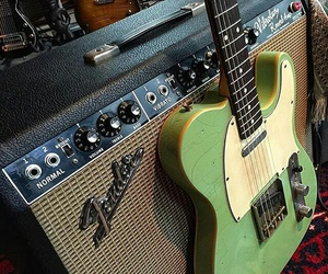 electric guitar, fender, and green image
