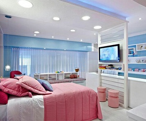 bedroom, girl, and blue image