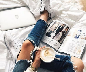 coffee, jeans, and adidas image