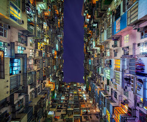 hong kong, building, and light image