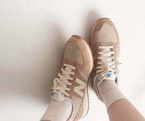 brown, new balance, and shoes image