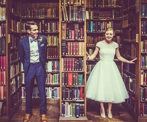 books, library, and love image