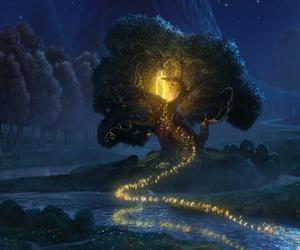 fairy, night, and tree image